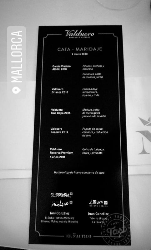 cena maridaje Valduero en Restaurante El Náutico